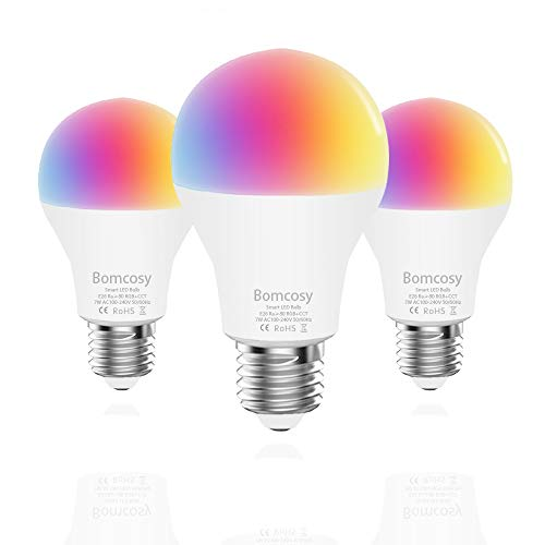 Smart Light Bulb RGBCW WiFi Led Bulb E26 A19 7W 600LM Dimmable Multicolored Lights Compatible with Alexa and Google Home No Hub Required 60W Equivalent 3 Pack