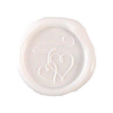 (Double Hearts Flexible Wax Seals - White)