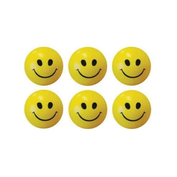 Smile N Style Essentials- (Set of 6) Smiley Face Squeeze Stress Ball - 3 inch (Yellow, Black)
