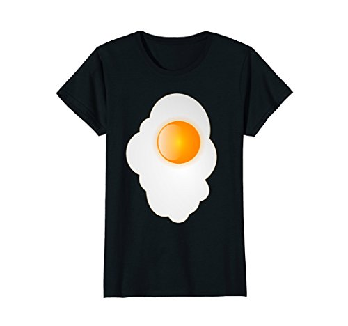 Womens Fried Egg last minute funny Halloween costume tshirt Large Black -