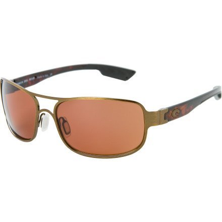Grand Isle Polarized Sunglasses - Costa 580 Polycarbonate Lens Brushed Antique Gold/Copper, One - Valley Sunglasses