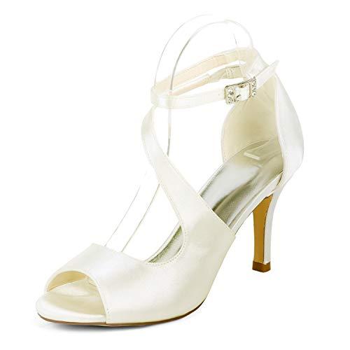 Zapatos Boda yc De Tacones Marfil Ivory L 35 Punta Tacón 6cm Flor Redonda 42 Altos Novia Mujeres Para Baja qB5g1