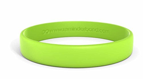 Reminderband Classic Custom Silicone Wristband/Personalized Silicone Bracelet/Rubber Bracelet (Lime Green, Large)