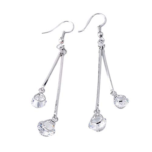 kolo FINE Jewelry Earrings Fashion Women Long Zircon Earrings Drop Ear Hook Temperament Crystal Wild Earrings Flashing Stainless Steel Earrings Studs Dance Party Accessories for Women (Silver)