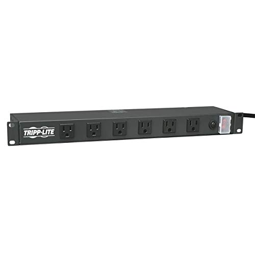 Tripp Lite Rackmount Network-Grade PDU Power Strip, 12 Right Angle Outlets Wide-Spaced, 15A, 15ft Cord w/ 5-15P Plug - Unit Cage Bank