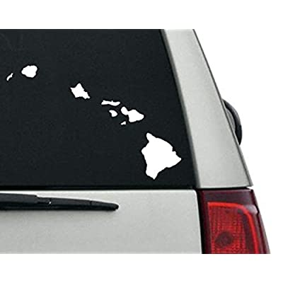 Large White Vinyl Hawaiian Islands Shaped Sticker (Hawaii Window hi Native): Arts, Crafts & Sewing