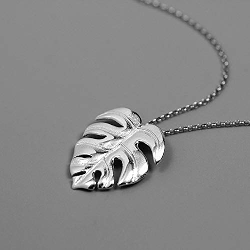 - Acecare Real 925 Sterling Silver Handmade Jewelry Creative Monstera Leaves Design Pendant (Silver)