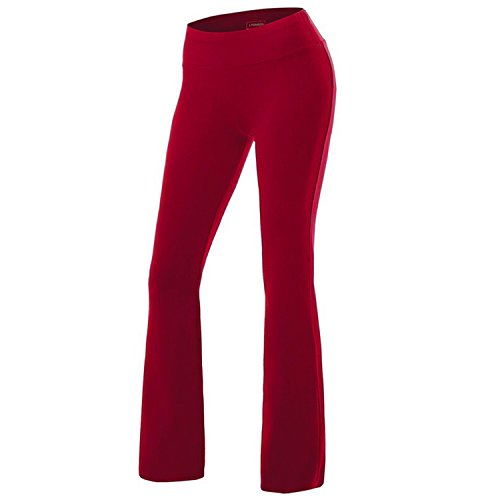 7925dd79b04f9 Women s Solid Boot Cut High Waisted Flare Yoga Pants Workout Casual  Trousers Comfortable Flared Leggings