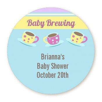 amazon com baby brewing tea party round personalized baby shower
