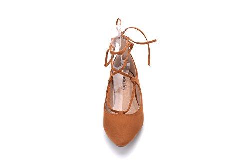 Mila Lady Irma Fashion New Scarpe Stringate Con Punta A Punta. Cammello