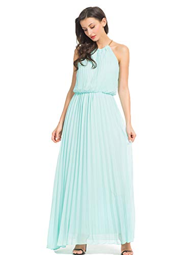 Persun Women's Open Shoulder Cut Out Back Pleated Chiffon Sleeveless Maxi Dress Green Small