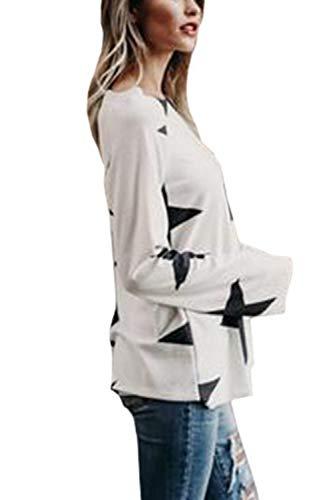 Floreale Donne Sono Le Libero Pullover White Una Occasionale Camicia Spalla Pentagramma ZAaWg