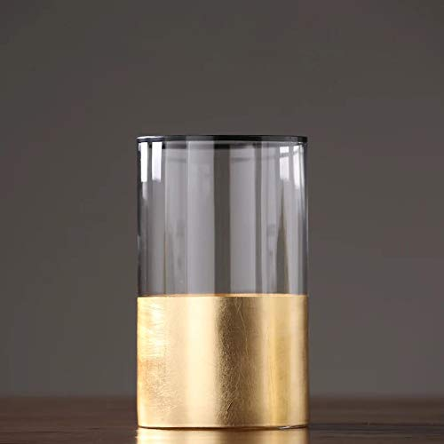 cyl home Hurricane Candleholders Clear Glass with Golden Decor Black Rim Dining Table Centerpieces Vases Gifts for Wedding Housewarming Holiday Christmas Party,9.8'' Height.