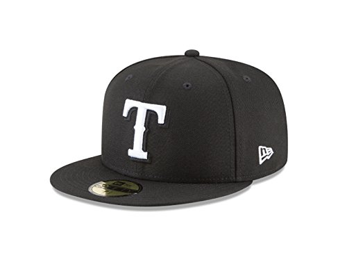 (New Era 59Fifty Hat MLB Basic Texas Rangers Black/White Fitted Baseball Cap (7 1/8))