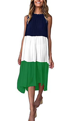 PRETTYGARDEN Women's Summer Sleeveless Color Block Patchwork Pleated Elastic Crew Neck Loose Midi Dress (Green, Large)