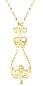 Round Cut White Natural Diamond Accents Chandelier Pendant In 14k Yellow Gold