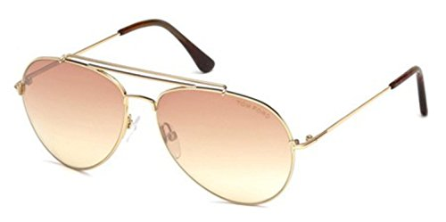 Tom Ford FT497 28Z Shiny Rose Gold Indiana Aviator Sunglasses Lens Category 2 - Aviator Ford Sunglasses Tom Women