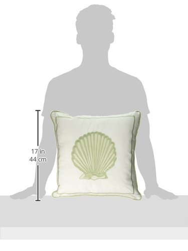 Harbor House Brisbane Fashion Cotton Throw Pillow, Coastal Square Decorative Pillow, 16X16, White - Set includes: 1 pillow Cover: 100Percent Cotton filling: 100Percent polyester Measurements: 16-by-16-inch square pillow - living-room-soft-furnishings, living-room, decorative-pillows - 31uPKL6ClLL -
