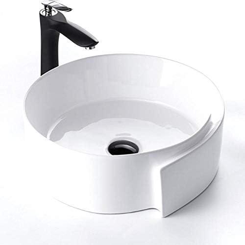 洗面ボール 現代の北欧ラウンド上記カウンター容器シンクスカートデザインアート盆地 洗面器 (Color : White, Size : 45x44x15cm)