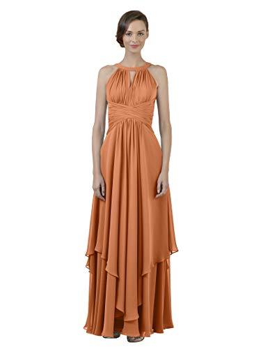 Alicepub Jewel Chiffon Bridesmaid Dress Long A-Line Party Prom Gown Evening Dress, Burnt Orange, US28