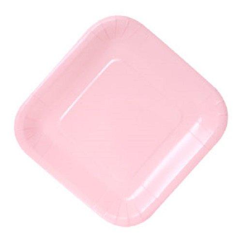 Color Paper Plates Sqaure (Pink, 9