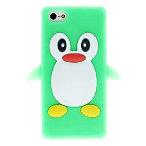 MOFY-Verde 3d penguin caja suave del silic—n para el iphone 5/5s