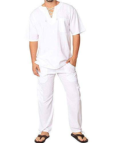Mens Fashion Casual Beach T Shirt Cotton Linen Tee Hippie Shirts V-Neck Yoga Top