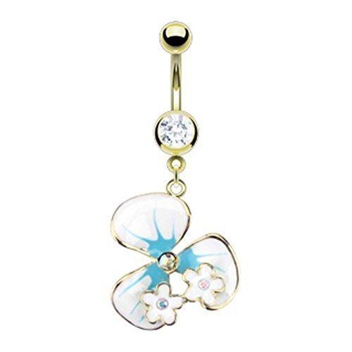 Coolbodyart piercing de nombril en acier chirurgical en forme de fleurs plaqué or 14 carats et aigue-marine blanc époxy avec petites fleurs et incolore vielfarbige-oxyde de zirconium