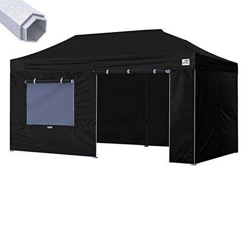 Eurmax New 10 X 20 Premium Ez Pop up Instant Canopy Outdoor Fair Vendor Canopy Party Tent Commercial Grade +4 Removable Zipper End Sidewalls Bonus Roller Bag (Black) For Sale
