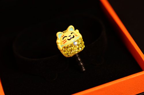 Big Mango Cute Crystal Rhinestone Fortune Cat Anti Dust Plug Stopper / Ear Cap / Cellphone Charms for Apple iPhone 5 iPhone 4 4s ,iPad Mini iPad 2 ,iPod Touch 5 4,Samsung Galaxy S3 S4 Note3 Note 2,HTC and Other 3.5mm Earphone Jack Phones ( Yellow )