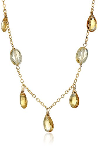 Pear Shape Citrine Necklace (Gold-Filled Faceted Citrine Pear Shape and Faceted Citrine Oval  Chain Necklace, 18