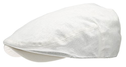 Men's Linen Flat Ivy Gatsby Summer Newsboy Hats (White, LXL)