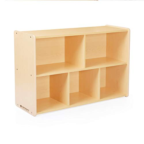 "Guidecraft 5-Compartment Storage Shelves 30"" - Toddler's Wooden Organizer Cabinet for School, Home or Daycare - Teacher's Book Cubby and Toy Shelf"