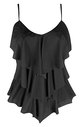 Cocoship Black Solids Inspired Fashion Handkerchief Tiered Swim Top V-Neckline Tankinis Swimwear 16(FBA)