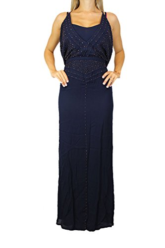 FRENCH CONNECTION Damen Kleid Blau Gr. XS Dress 71DFB Maxi Kleid Perlen#O27