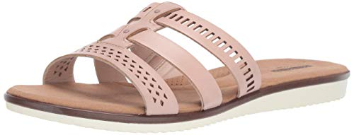 CLARKS Women's Kele Willow Slide Sandal, Blush Pink Leather, 070 M US