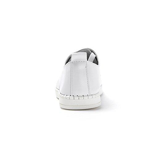 Zapatos de lazo de cabeza de verano/Perforación perforado transpirable zapatos blanco