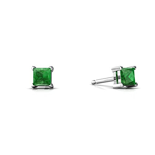 Emerald Ring 14kt Gold Jewelry (14kt White Gold Emerald 3mm Square Princess Cut Stud Earrings)