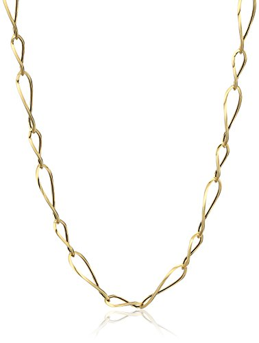 14k Yellow Gold Italian Polished Large and Small Oval Link Necklace, 17