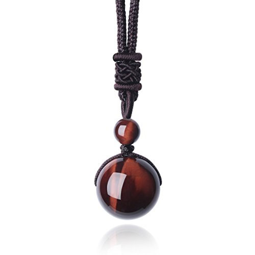 AmorWing Unisex Natural Round Red Tiger Eye Bead Reiki Healing Pendant Adjustable Necklace - Eye Tiger Red Necklace