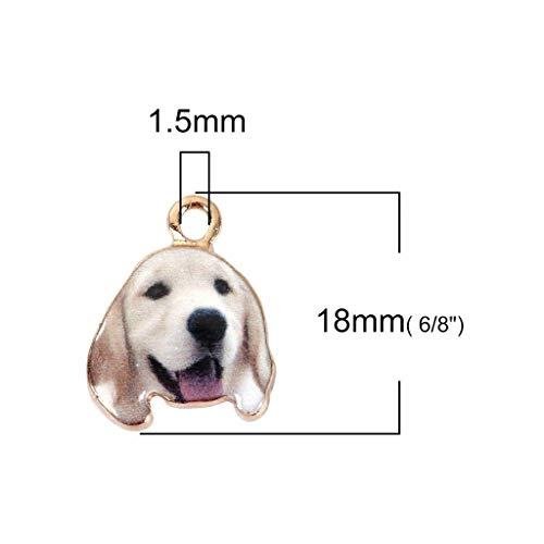 (Golden Retriever Puppy Dog 18mm Gold Plated Charms 2 pcs)