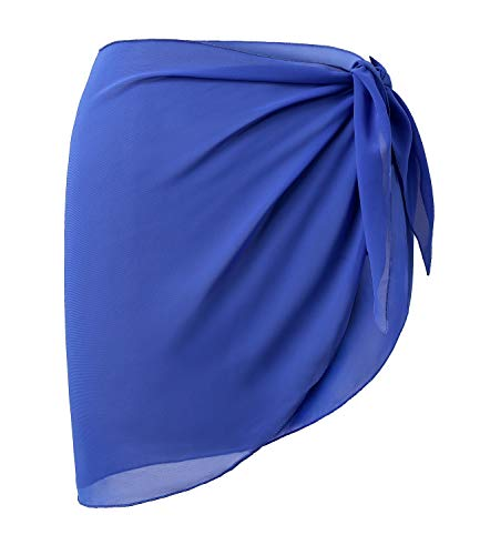 Cover Ups Beach Sexy - LIENRIDY Women's Soft Wrap Beach Swimwear Short Cover up Swimsuit Royal Blue Short Plus Size
