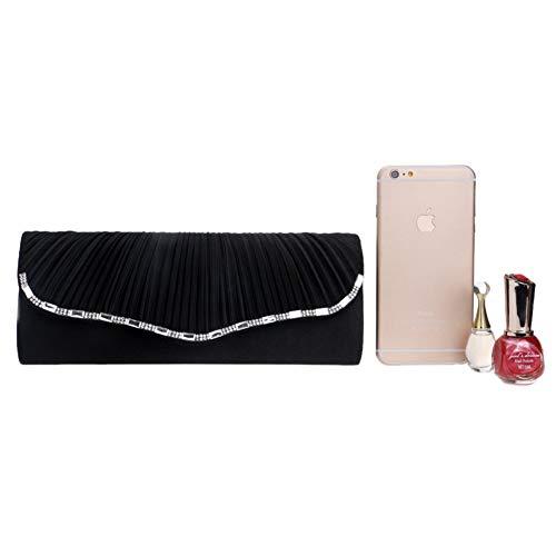Main Fête Black Mariage Pochette Soirée Maquillage Clutch Femme Chaîne Sac pour Sac à Bandouliere Bal Bourse Zw47X