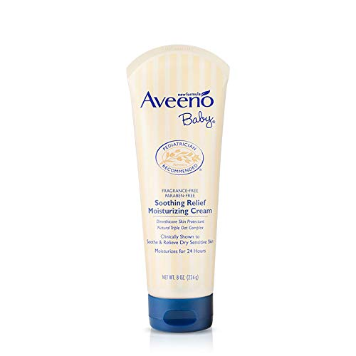 Daily Lotion Baby Moisture - Aveeno Baby Soothing Relief Moisturizing Cream with Natural Oat Complex for Dry Sensitive Skin, Fragrance-free & Paraben-Free, 8 oz
