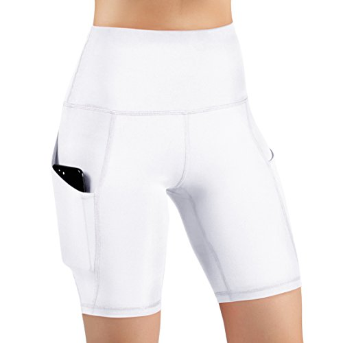 ODODOS High Waist Out Pocket Yoga Shots Tummy Control Workout Running 4 Way Stretch Yoga Shots, White, X-Large by ODODOS (Image #1)