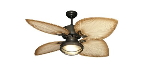 Indoor or Outdoor Use Gulf Coast Bombay Tropical Ceiling Fan in Oil Rubbed Bronze with 50 Tan Palm Style Blades and Light
