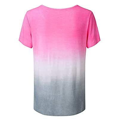 Women's Gradient Color Short Sleeved T-Shirt Casual Tunic Blouse Tops: Clothing