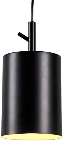 Homiforce Vintage Style 1 Light Black Cylinder Pendant Light with Metal Shade in Matte-Black Finish-Modern Industrial Edison Style Hanging for Kitchen Island cl2017080 Close to Ceiling Faye Black