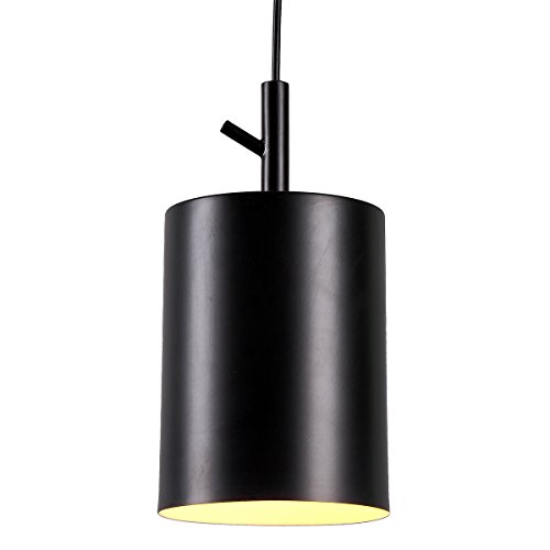 - Homiforce Vintage Style 1 Light Black Cylinder Pendant Light with Metal Shade in Matte-Black Finish-Modern Industrial Edison Style Hanging for Kitchen Island cl2017080 Close to Ceiling (Faye Black)