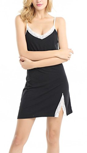 Chamllymers Women Sexy Cotton Sleepwear  - Black Nightdress Shopping Results